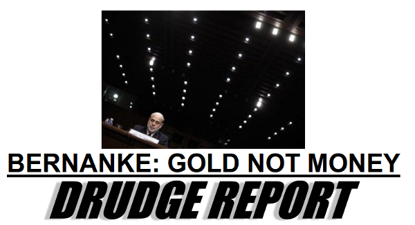 Bernanke says gold is not money